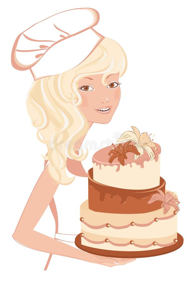 Download Smiling girl with cake stock vector. Illustration of graphic - 27742571