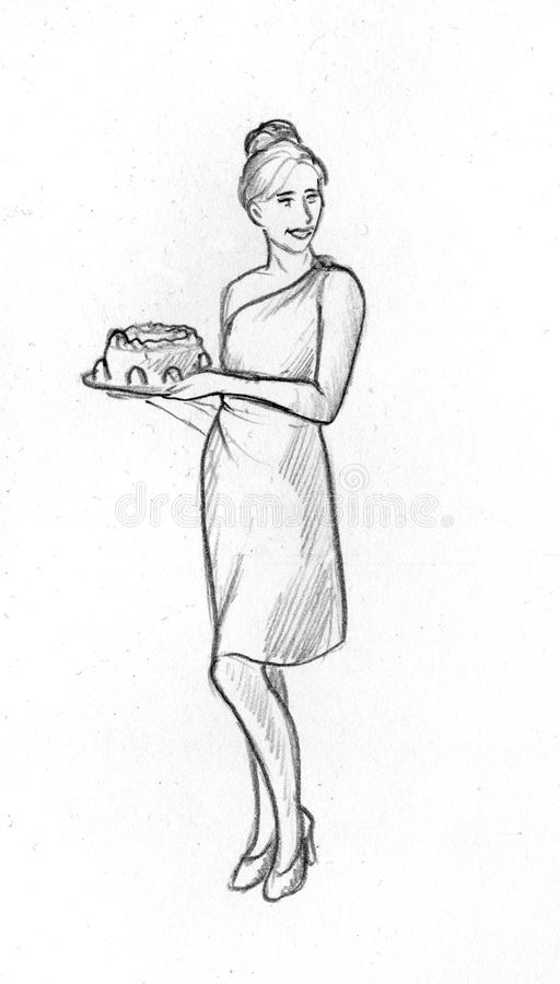 Smiling girl with a cake - sketch. Hand drawn pencil sketch of a smiling young woman holding a cake on a plate. She is wearing high heels and a fancy dress. Her stock illustration