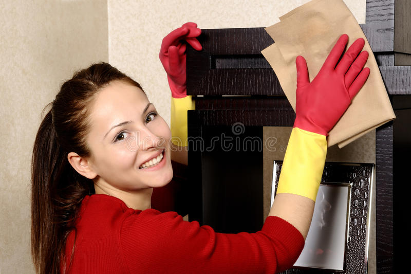Download Smiling Girl Cleaning The House Stock Image - Image: 18382279
