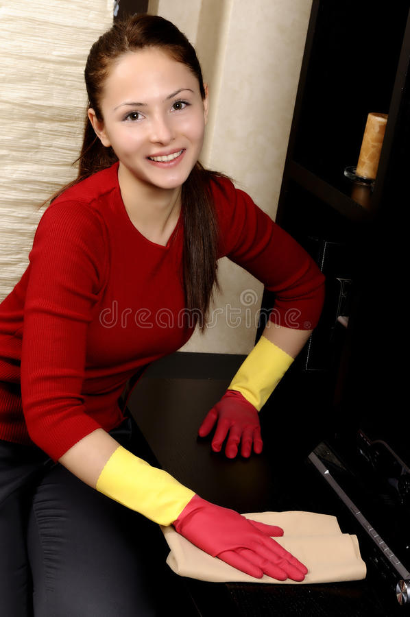 Download Smiling Girl Cleaning The House Royalty Free Stock Photos - Image: 18382408