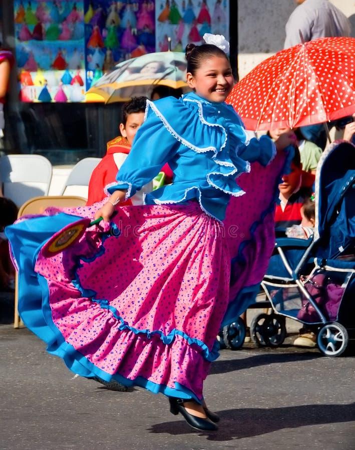 Smiling girl dancing in parade stock photos