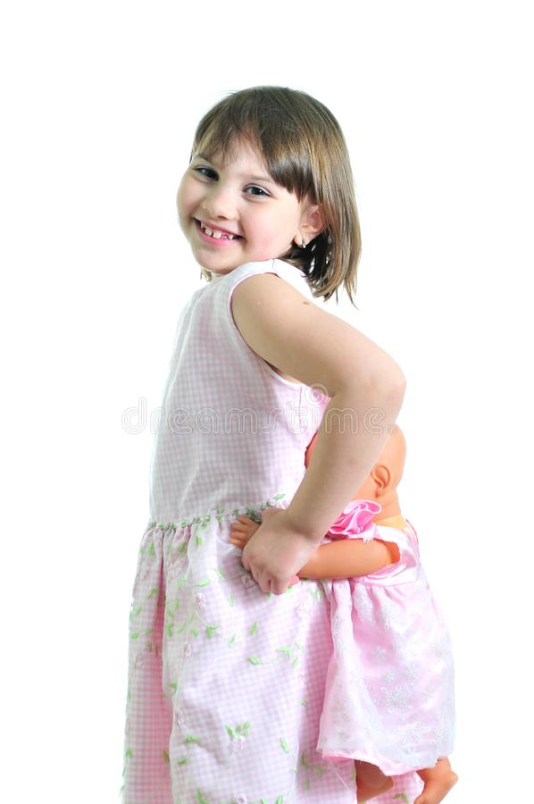 Download Smiling girl with doll stock photo. Image of development - 9668860