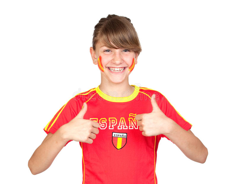 Download Smiling Girl Fan Of The Spanish Team Saying OK Stock Image - Image: 14634989
