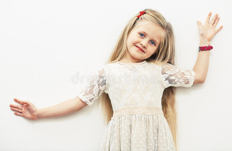 Smiling girl fashion portrait. royalty free stock images