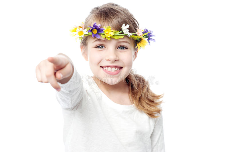 Download Smiling Girl With Flower Crown Stock Photo - Image: 34105126