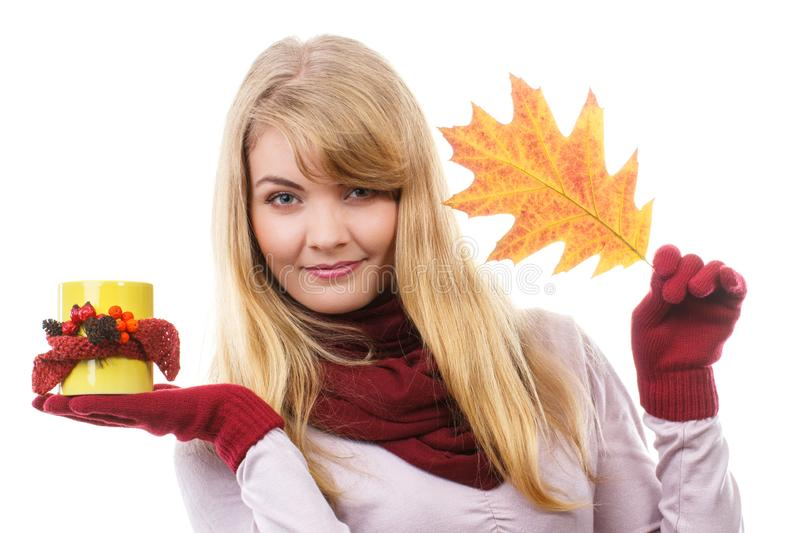 Smiling girl in gloves holding decorated cup of tea and autumnal leaf stock photography
