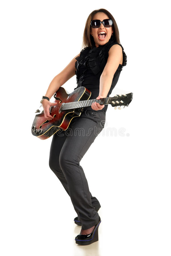 Smiling girl with guitar royalty free stock photo