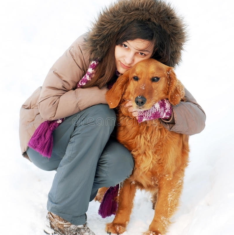 Download Smiling Girl And Her Dog Stock Photo - Image: 26603510