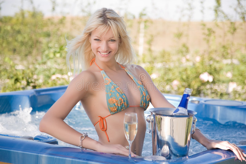 Download Smiling girl in Jacuzzi stock image. Image of blue, bucket - 7179215