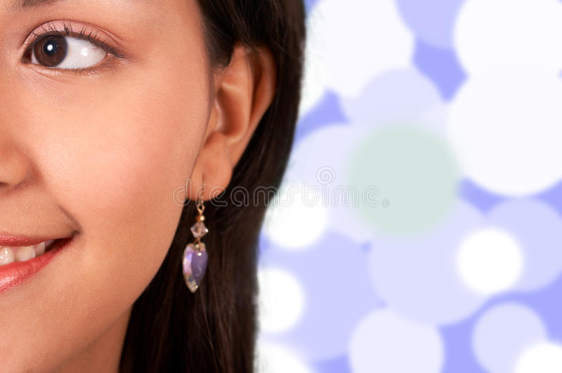 Download Smiling Girl With Lights Background Stock Image - Image: 19535419