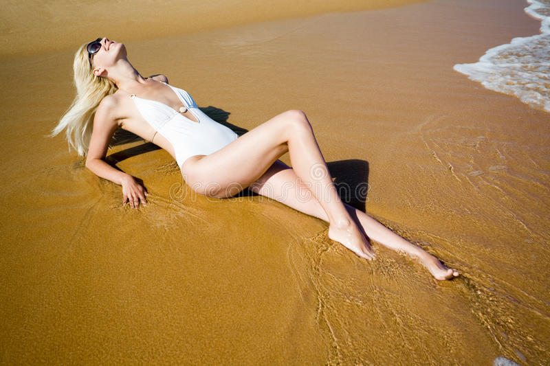 Download Smiling Girl Lying Beach Royalty Free Stock Photo - Image: 24168705