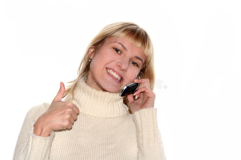 Smiling girl with mobile phone stock photos