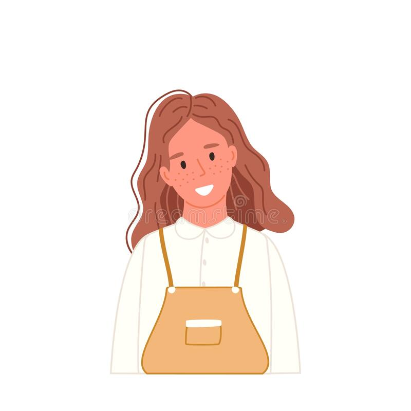 Free Smiling Girl Portrait In Casual Clothing In Cartoon Flat Style. Kid Avatar Isolated On White. Happy Teenager. Vector Stock Photography - 211068582