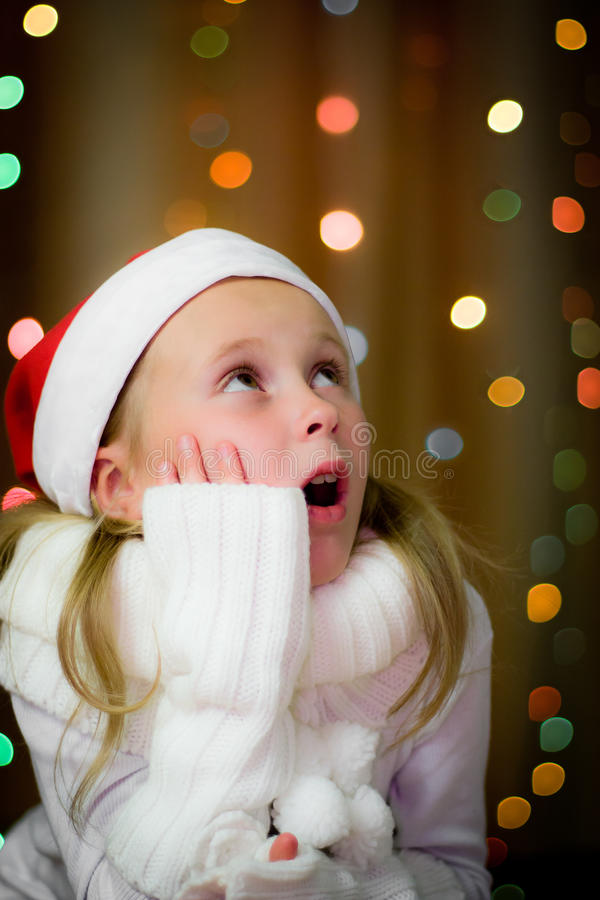 Download Smiling girl in santa hat stock photo. Image of beautiful - 26835776