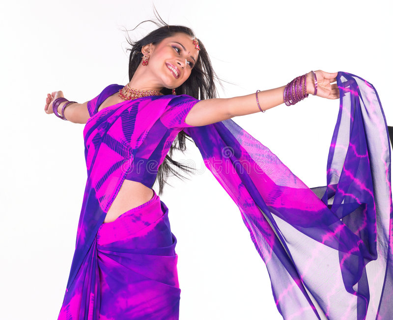 Download Smiling girl with sari stock photo. Image of accessories - 7761834