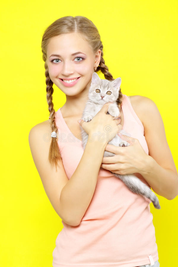 Download Smiling Girl With Scottish Straight Stock Photo - Image: 26835826