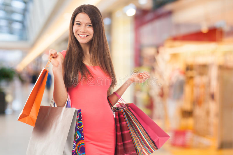 Download Smiling Girl In A Shopping Center Stock Photo - Image: 32923230
