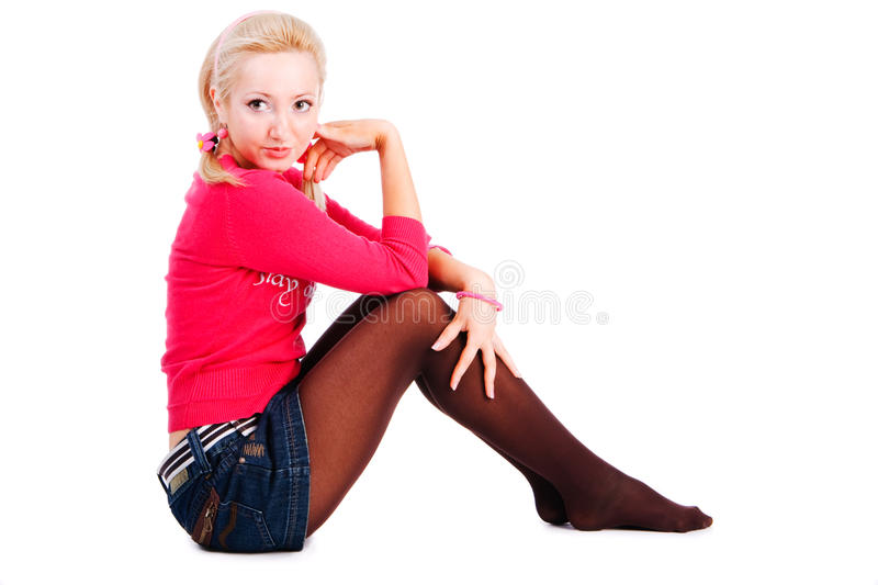 Download Smiling Girl Sits On The Floor Stock Image - Image: 12883203