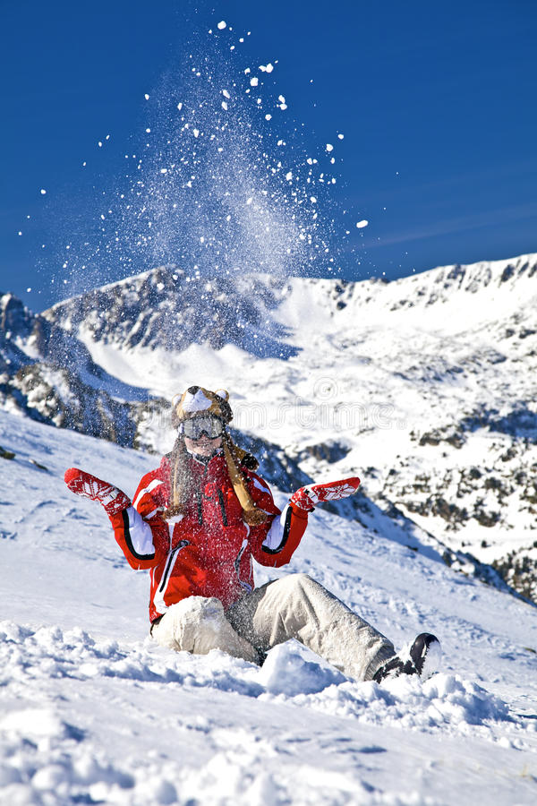 Smiling Girl Snowboarder Royalty Free Stock Photography