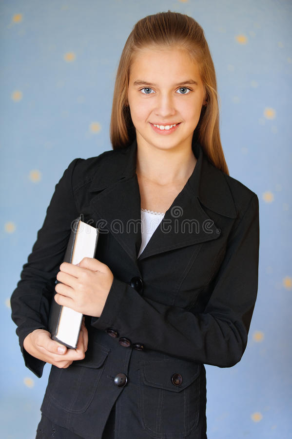 Download Smiling Girl-teenager With Book Stock Image - Image of jacket, people: 24301455