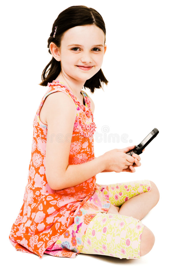 Free Smiling Girl Text Messaging Royalty Free Stock Photography - 9209677