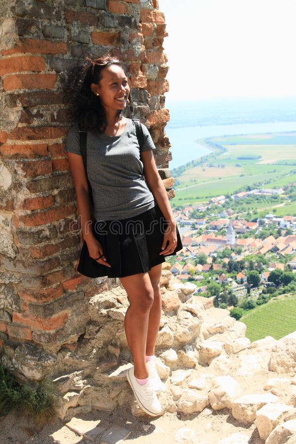 Smiling girl on view from Castle Devicky on Palava royalty free stock photography