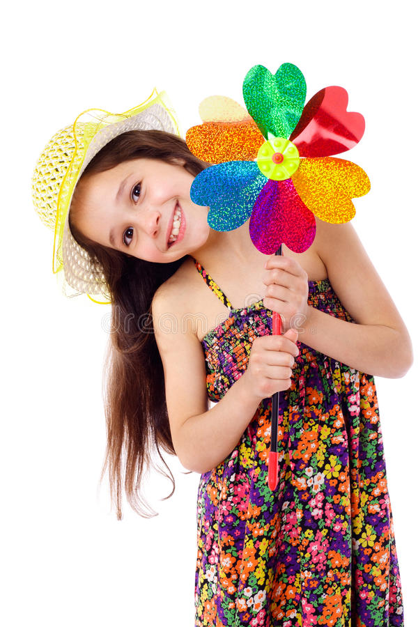 Download Smiling girl with windmill stock photo. Image of lovely - 24918704