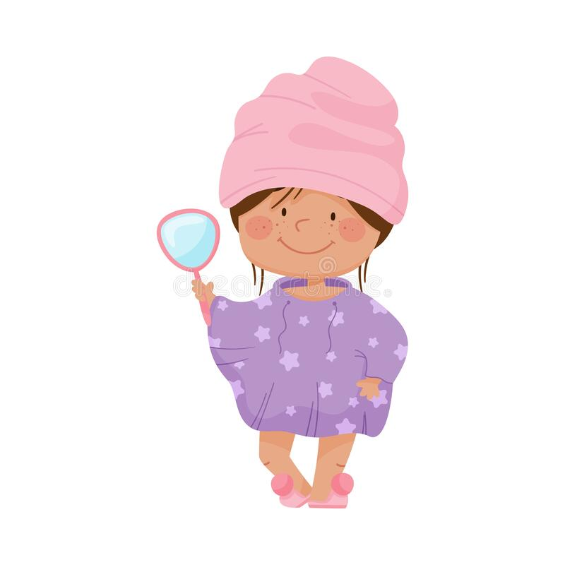 Free Smiling Girl With Her Hair Wrapped In Towel After Taking Bath Holding Mirror Vector Illustration Royalty Free Stock Photography - 178517637
