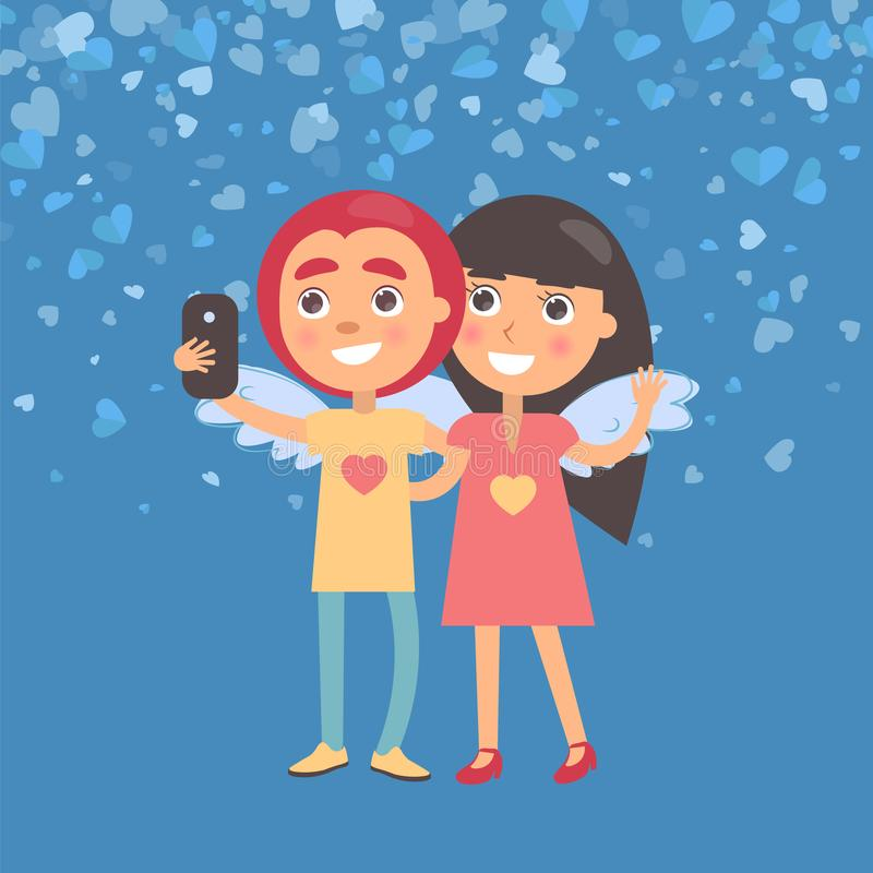 Girlfriend and Boyfriend Making Selfie Vector. Smiling girlfriend and boyfriend making selfie. Girl and boy with wings, woman waving hand and hugging man. Blue royalty free illustration