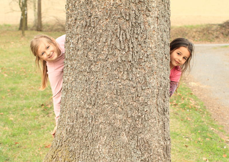 Download Smiling Girls Hiding Behind Tree Stock Image - Image of pink, hairy: 39506367