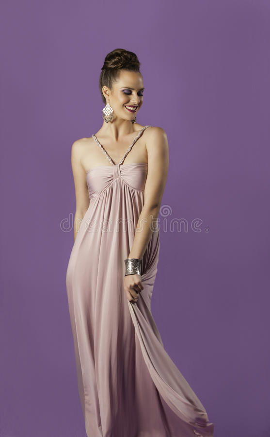 Smiling Goddess Playing With Her Grecian Dress Stock Image - Image ...