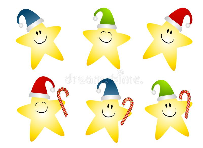 Smiling Gold Christmas Stars Clip Art Free Stock Photography