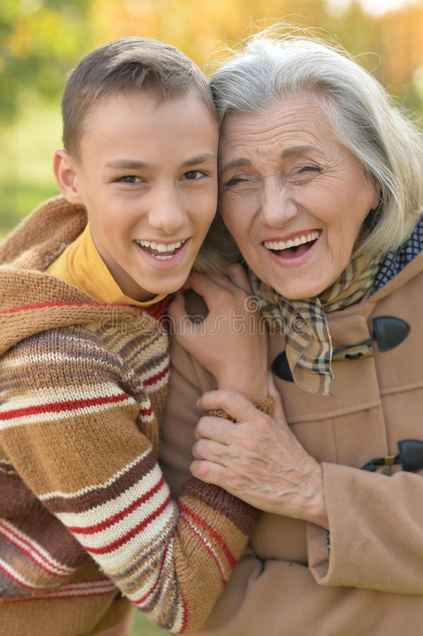 Smiling grandmother with grandson royalty free stock images