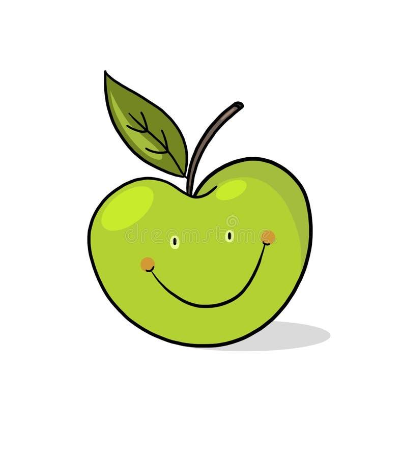 Download Apple Cartoon; Smiling Green Apple Illustration Stock Illustration - Image: 17049678