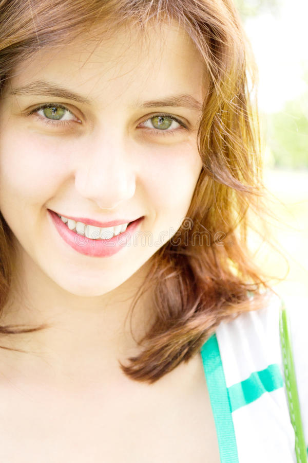 Download Smiling green-eyed girl stock image. Image of young, glamour - 25589393