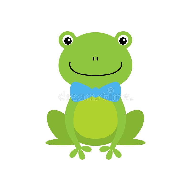 Smiling Green Frog Funny Character With Bow Tie Childish Cartoon Illustration vector illustration