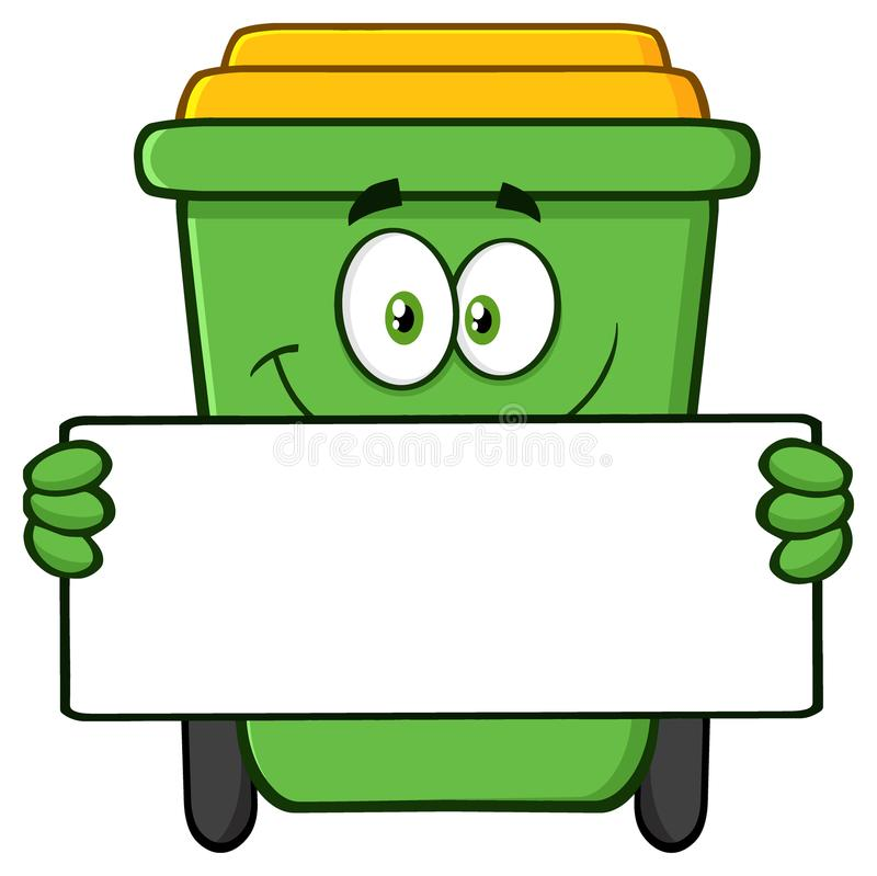 Free Smiling Green Recycle Bin Cartoon Mascot Character Holding A Blank Sign Royalty Free Stock Images - 120320519