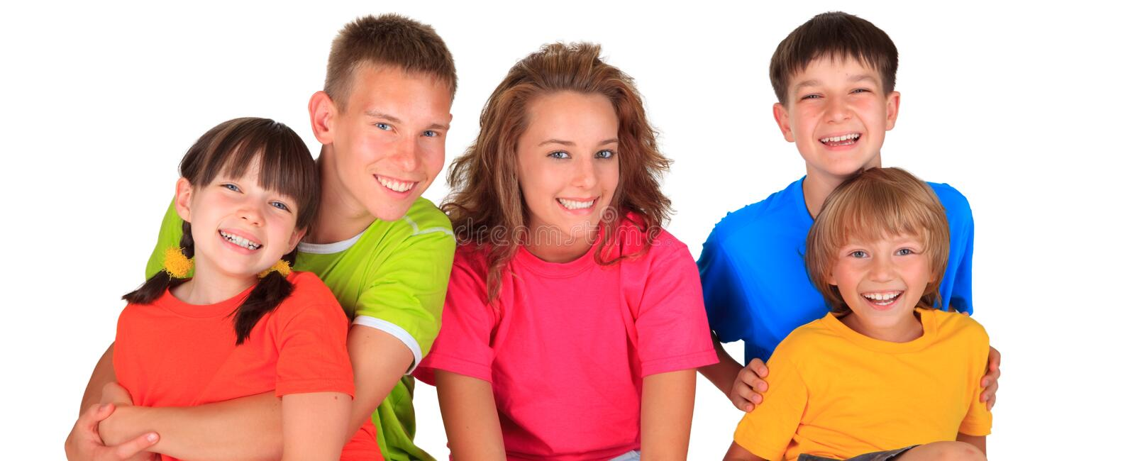 Smiling Group of Children. Happy group of smiling children and teens on white stock photos