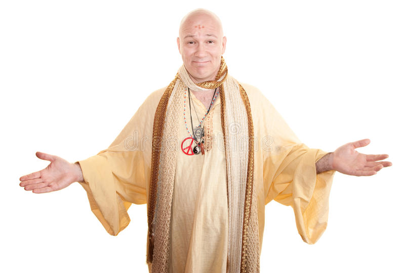 Smiling Guru. With open arms over white background royalty free stock photos
