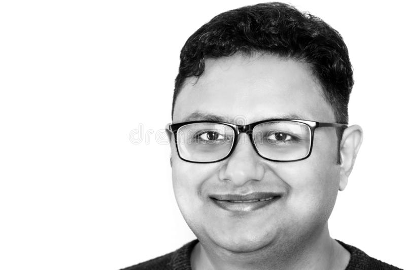 Smiling guy face closeup in black n white royalty free stock photos