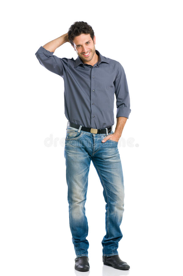 Smiling guy full length stock photography