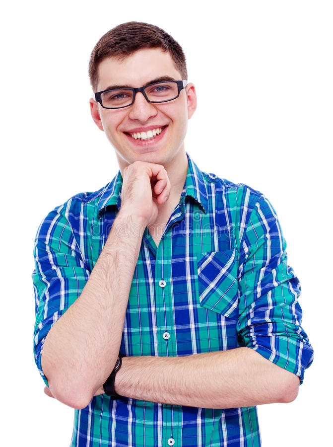 Smiling Guy With Hand On Chin Stock Photo