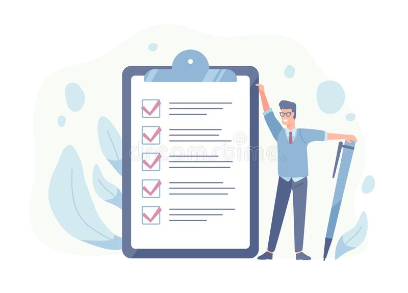 Smiling guy standing beside giant check list and holding pen. Concept of successful goal achievement, productive daily vector illustration