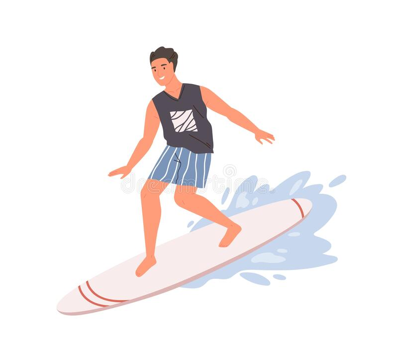 Free Smiling Guy Standing On Surfboard Ride At Wave Vector Flat Illustration. Happy Relaxed Male Enjoying Active Lifestyle Stock Image - 195871271