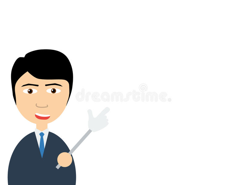 A smiling handsome asian salesman talking to you as pointing by using a pointer royalty free illustration