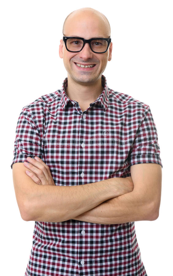 Smiling handsome bald man wearing glasses. Isolated royalty free stock images