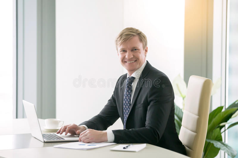 Smiling handsome businessman stock images
