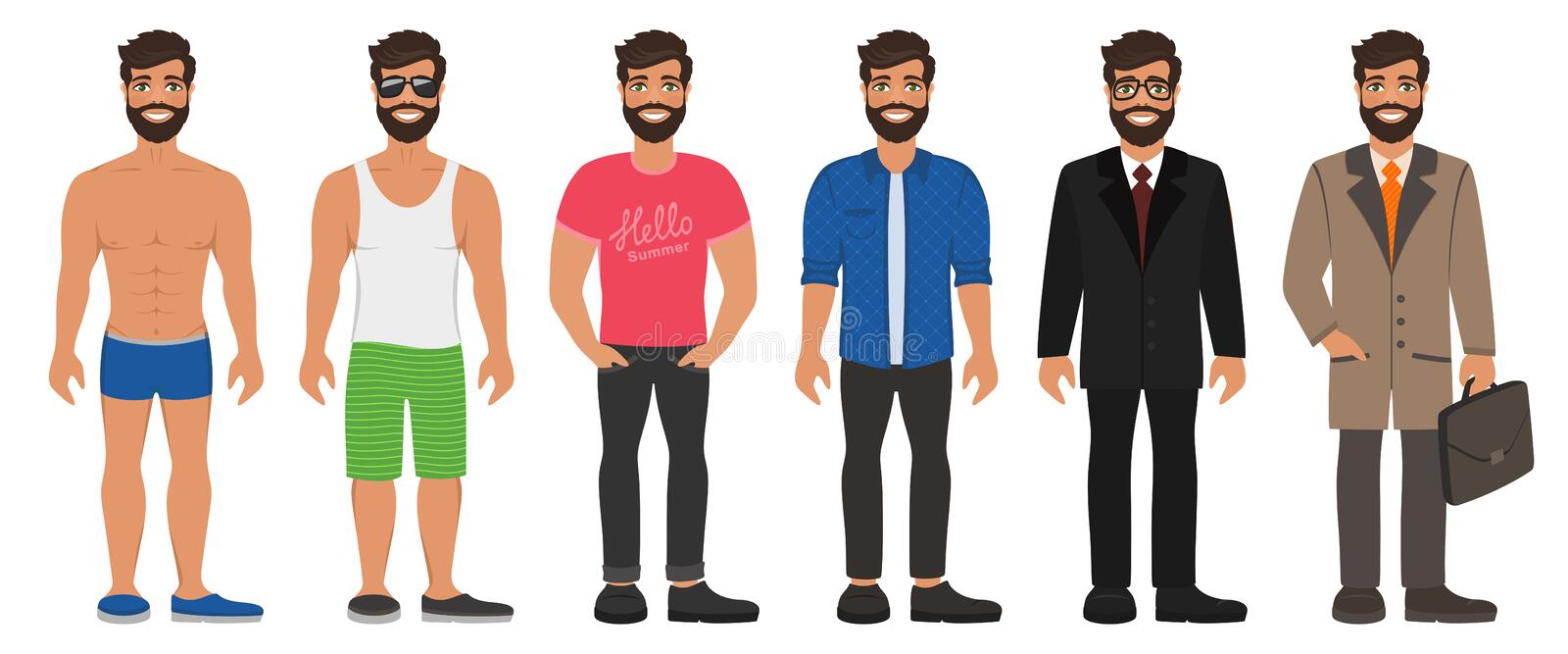 Smiling handsome man in different types clothes. vector illustration
