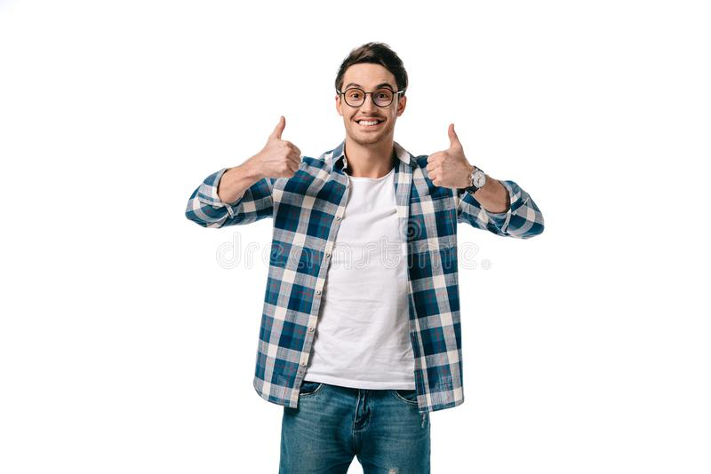 smiling handsome man showing thumbs up royalty free stock photo