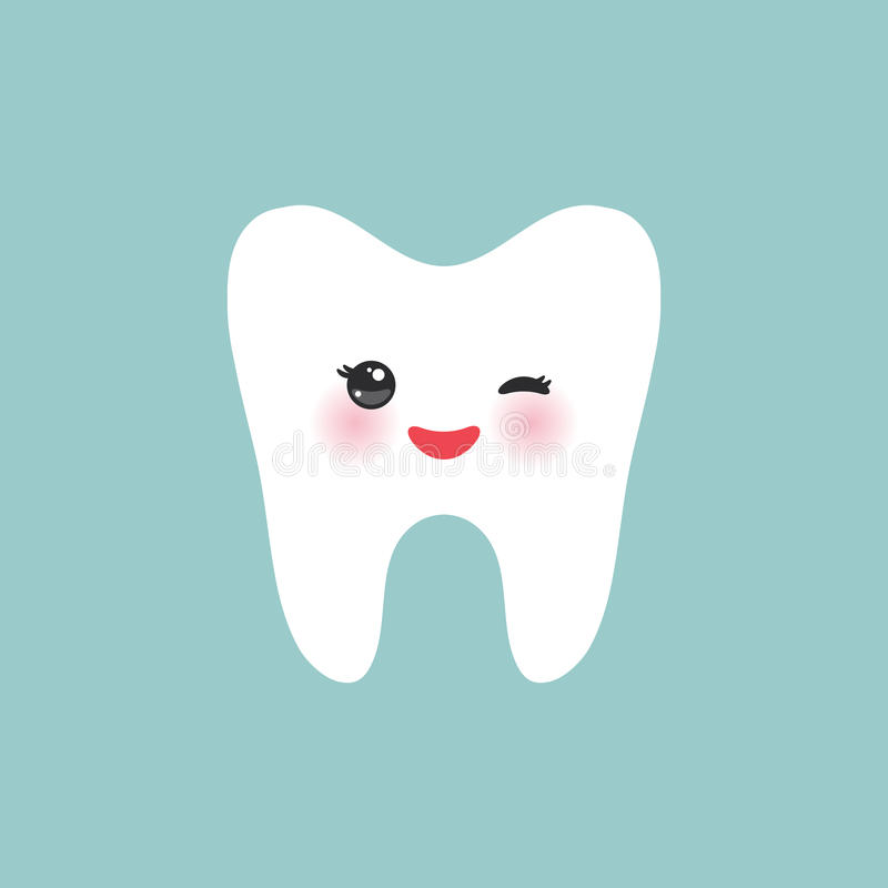 Smiling happily tooth Healthy cute cartoon tooth character, winking tooth with pink cheeks, blue background. Vector stock illustration
